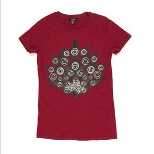 Jacob maroon peacock t-shirt